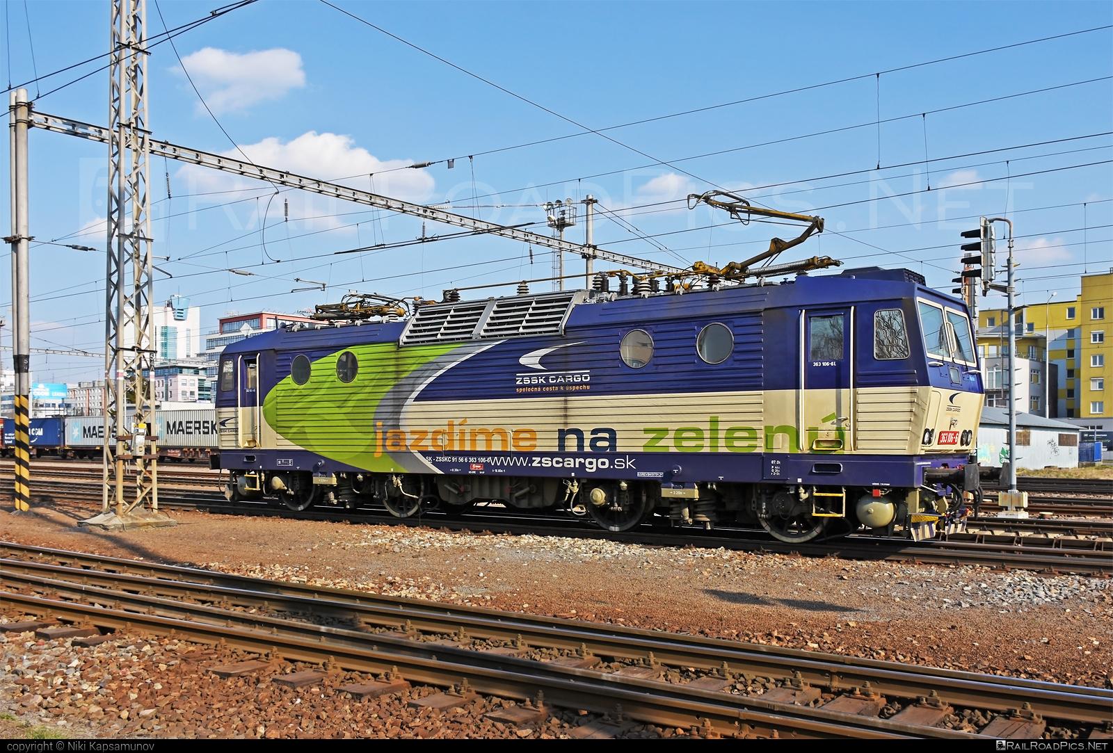 Škoda 69E - 363 106-6 operated by Železničná Spoločnost' Cargo Slovakia a.s. #ZeleznicnaSpolocnostCargoSlovakia #es4991 #eso #locomotive363 #skoda #skoda69e #zsskcargo
