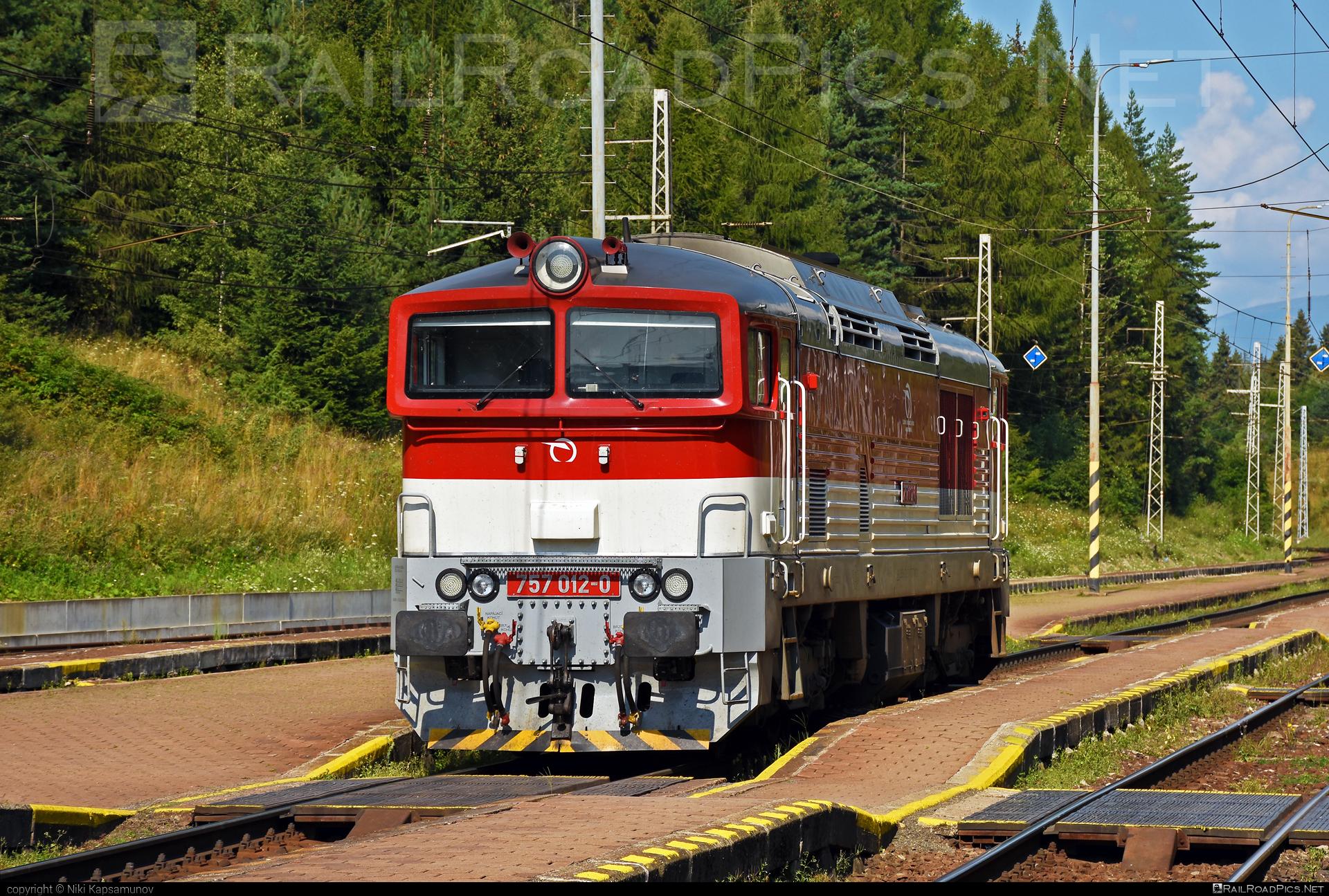 ŽOS Zvolen Class 757 - 757 012-0 operated by Železničná Spoločnost' Slovensko, a.s. #ZeleznicnaSpolocnostSlovensko #brejlovec #locomotiveclass757 #okuliarnik #zoszvolen #zssk
